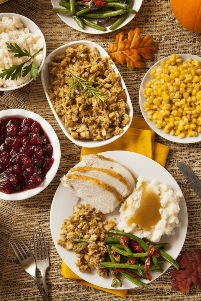 Thanksgiving Dinner with Turkey, Mashed Potatoes, Corn and Stuffing