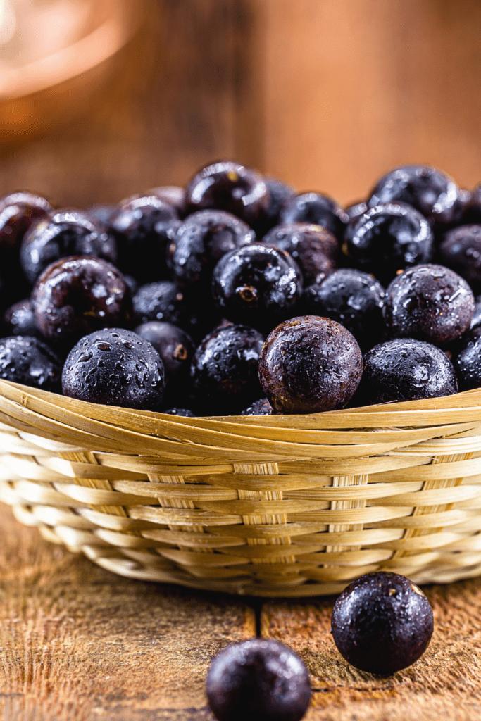 A Basket of Jaboticaba Fruits