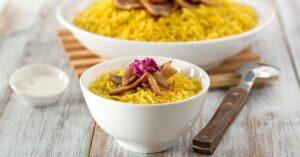 Bowl of Saffron Rice Chicken
