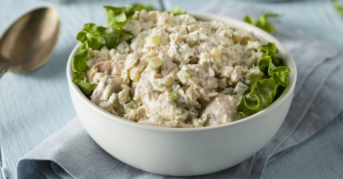 Bowl of Chicken Salad with Lettuce
