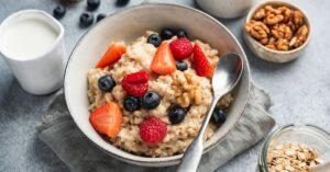 Bowl of Oatmeal with Berry Toppings