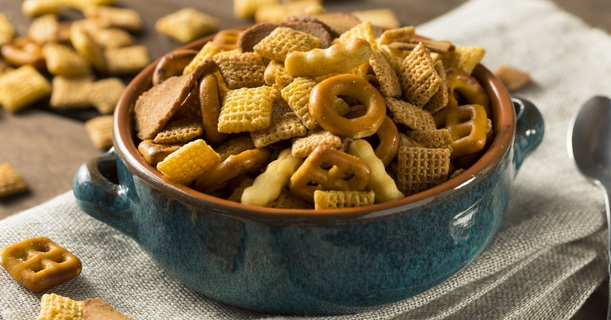Bowl of Salty Snack Mix with Cereals and Pretzels