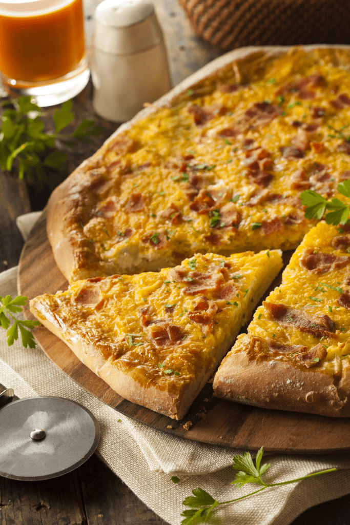 Breakfast Pizza with Bacon, Eggs and Potatoes