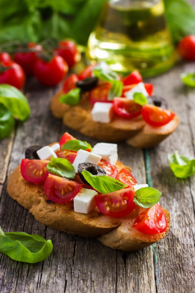 Bruschetta with Tomatoes, Feta Cheese and Basil