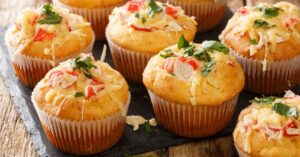 Cheesy Corn Muffins with Crabs and Herbs