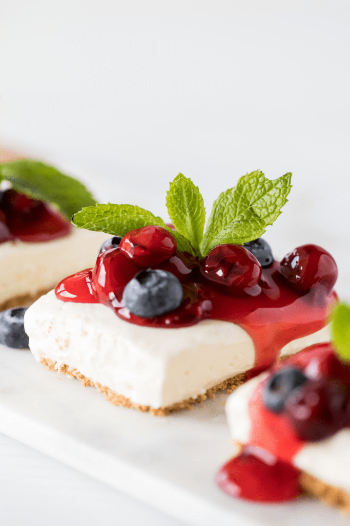 Cherry Cheesecake with Mint and Berries