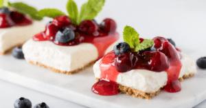 Cherry Cheesecake with Berry Sauce