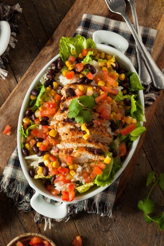Chicken Burrito Bowl Salad with Rice and Beans