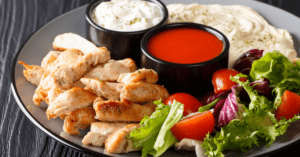 Chicken Shawarma with Vegetables, Hummus and Sauce