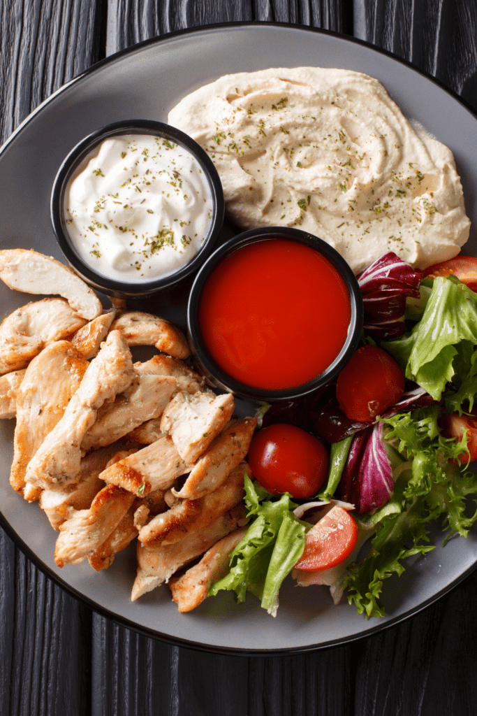Chicken Shawarma with Vegetables and Hummus