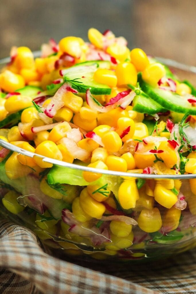 Corn Salad with Cucumber and Onions