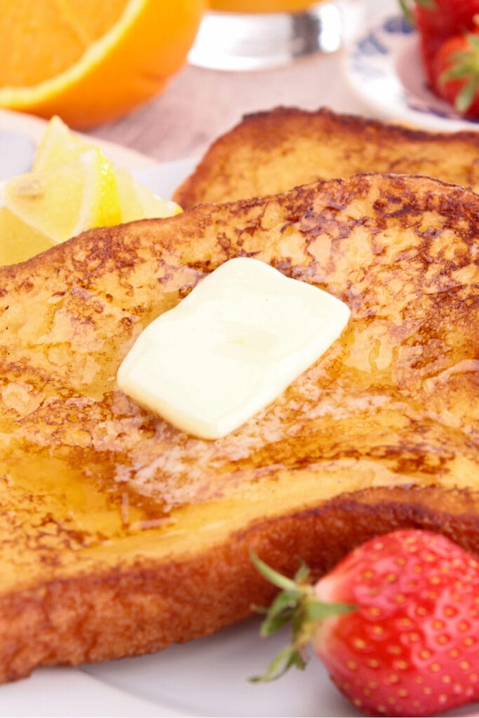 French Toast with Butter and Strawberry