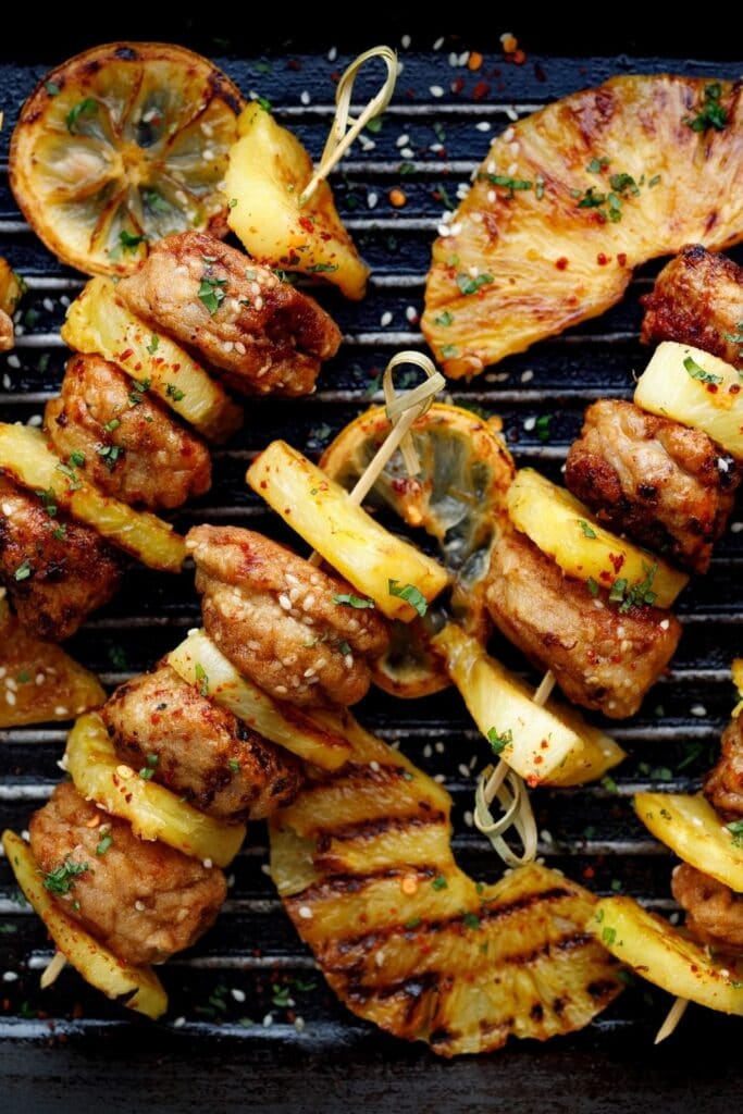 Grilled BBQ Skewers with Lemons and Pineapple Pin