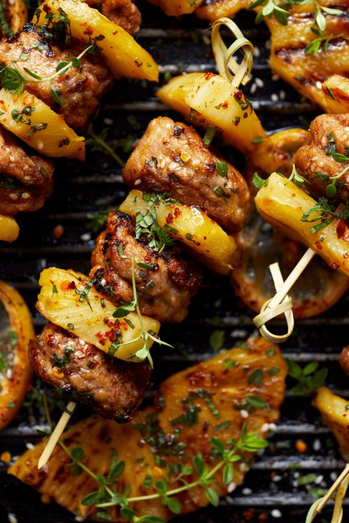 Grilled Pineapple Meatball Skewers