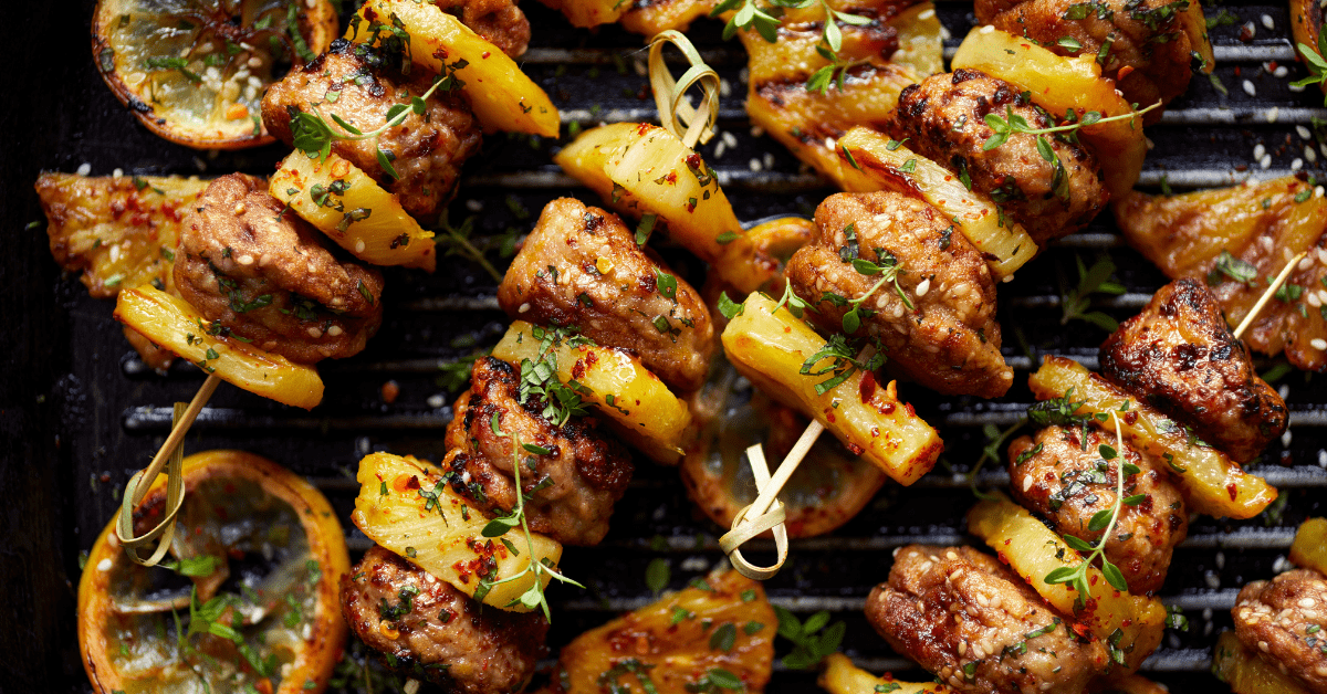 Grilled Pineapple Meatball Skewers with Herbs