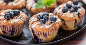 Homemade Blueberry Muffins with Fresh Berries