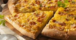 Homemade Breakfast Pizza with Bacon, Eggs and Potatoes