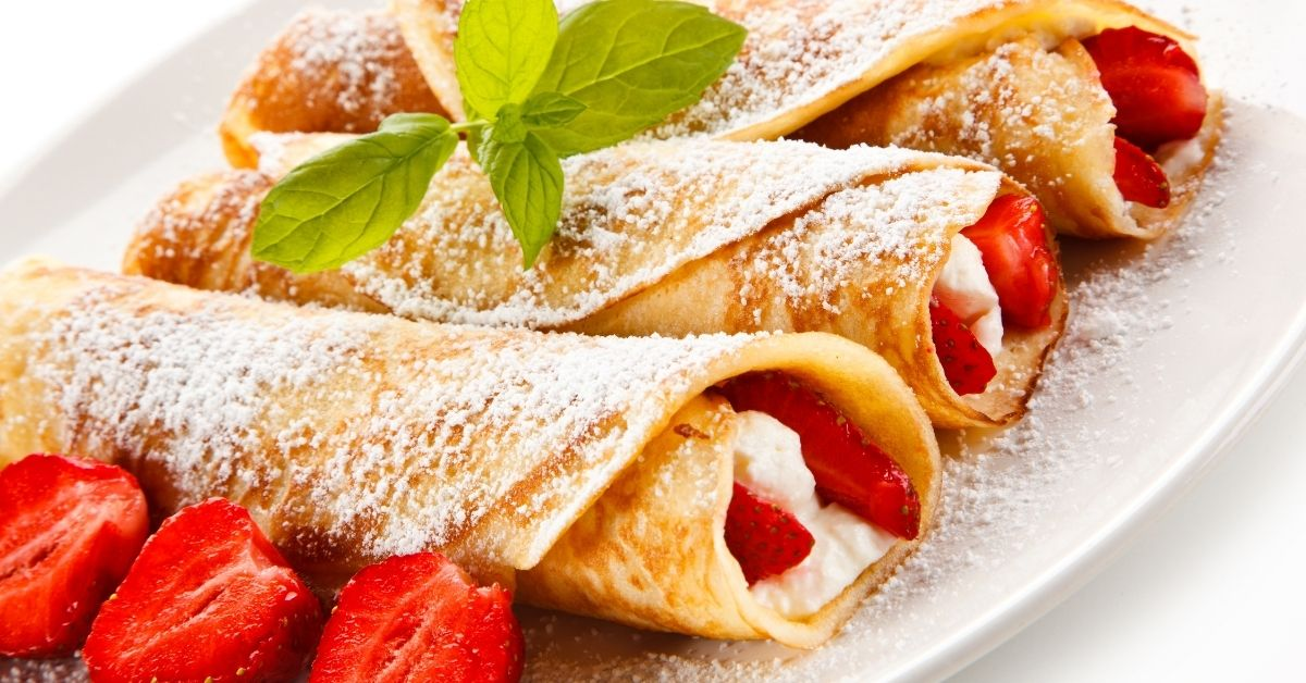 Homemade Strawberry Crepes with Cream