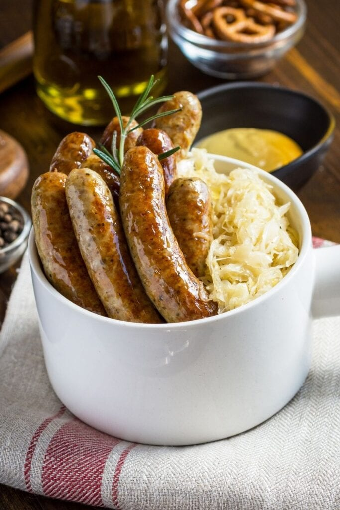 Juicy Bratwurst with Cabbage Salad and Mustard Sauce