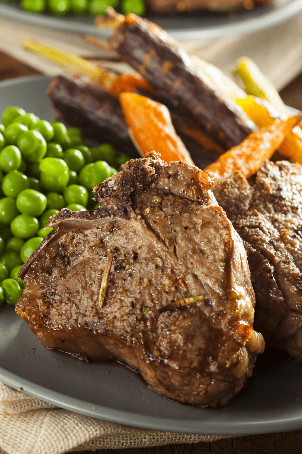 Lamb Chops with Carrots and Peas