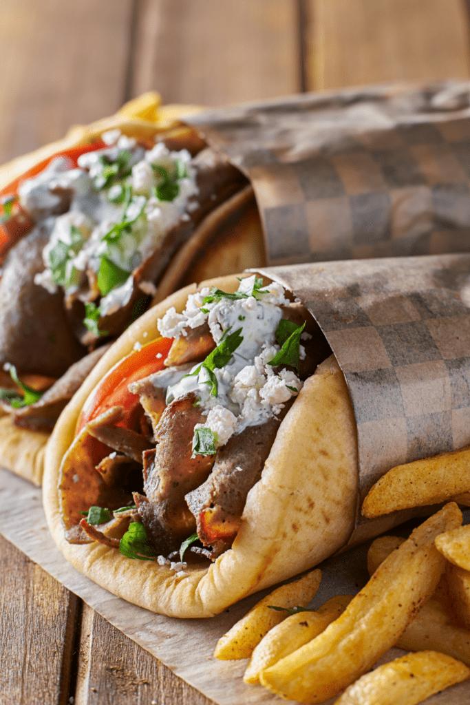 Lamb Gyro with Fries and Tzatziki Sauce
