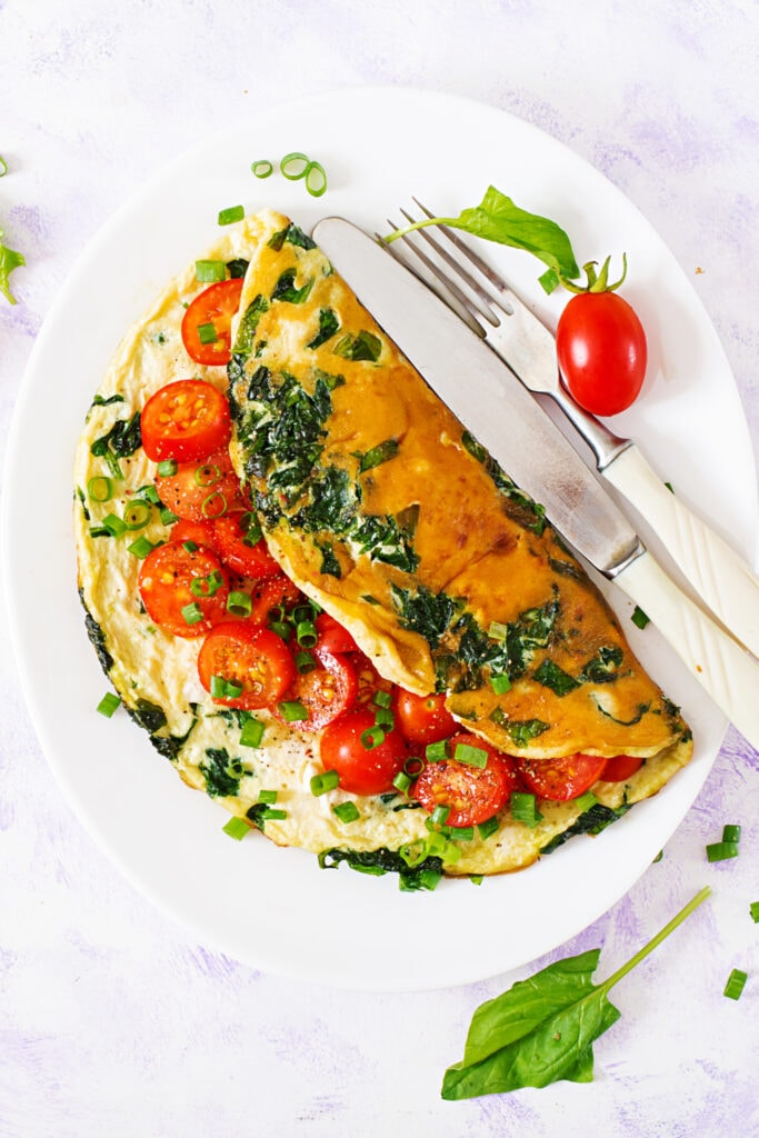 Omelets with Tomatoes, Onions and Spinach