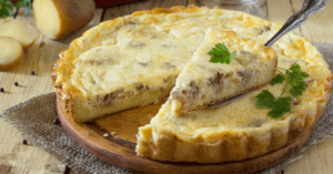 Quiche Pie with Potatoes, Meat and Cheese