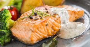 Roasted Salmon Fillet with Dill Sauce