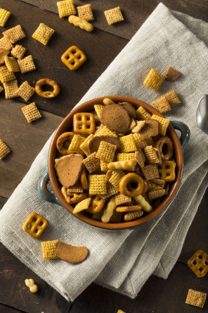 Salty Snack Mix with Cereal and Pretzels