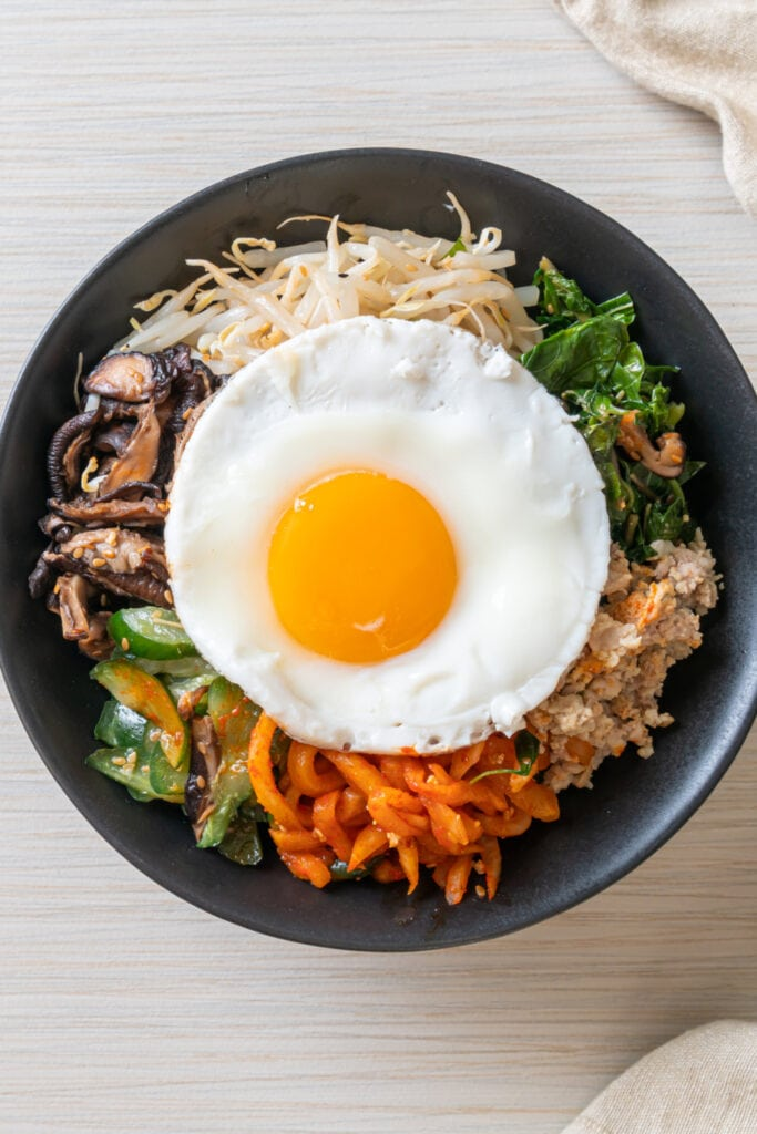Spicy Korean Bibimbap with Egg and Fried Rice