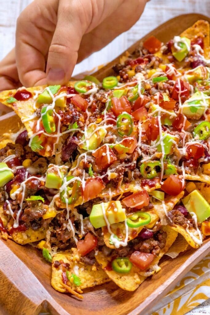 Spicy Nachos with Avocado, Tomatoes and Guacamole
