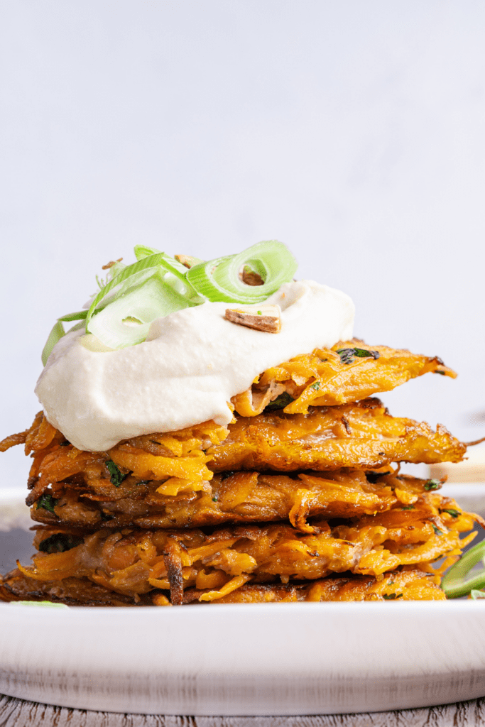 Sweet Potato Fritters with Sour Cream