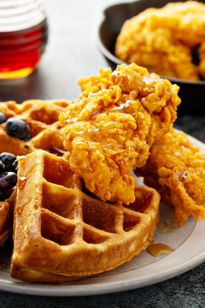 Waffle Chicken with Blueberries