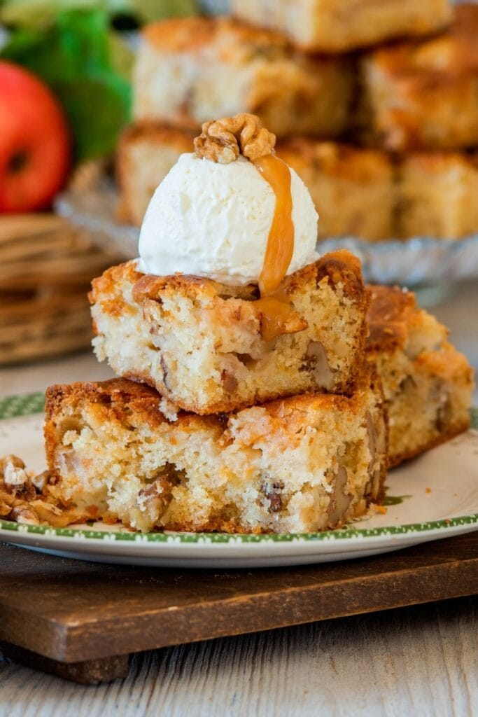 White Chocolate Blondies with Ice Cream and Nuts
