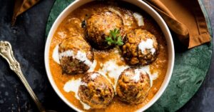 A Bowl of Indian Buttery Spcied Balls or Malai Kofta