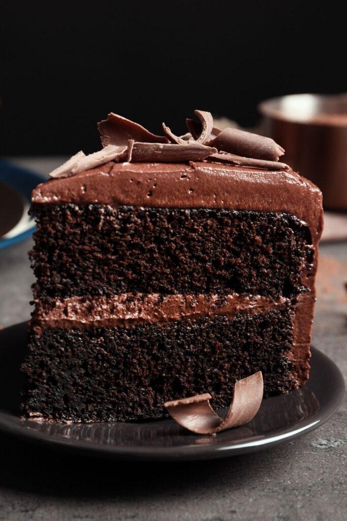A Slice of Homemade Chocolate Cake