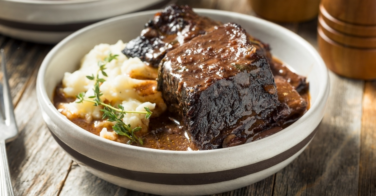 Bowl of Braised Short Ribs with Mashed Potatoes