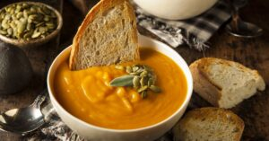 Bowl of Butternut Squash Soup with Bread
