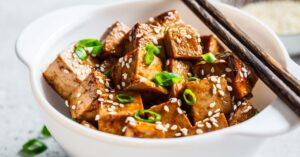 Bowl of Fried Tofu with Teriyaki Sauce
