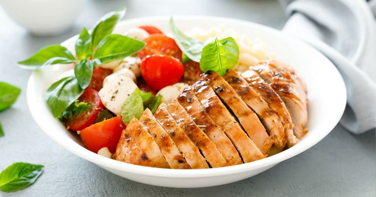 Bowl of Grilled Chicken with Caprese Salad