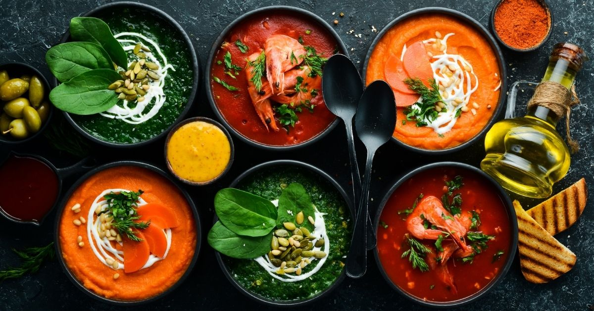 Bowl of Vegetarian Soup: Carrot, Tomato and Spinach Soup