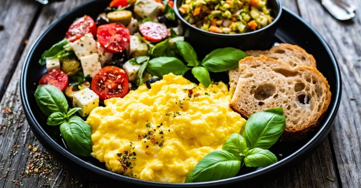 Breakfast Scrambled Eggs with Greek Salad