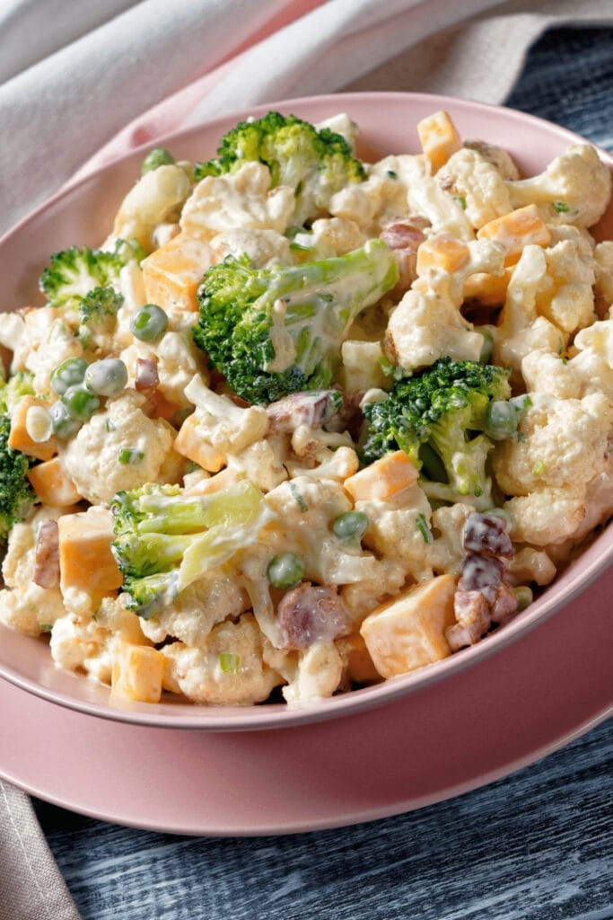 Broccoli Salad with Cauliflower and Vegetables