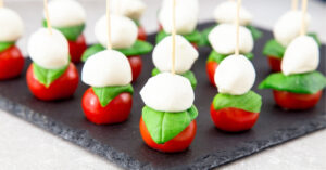 Caprese Salad Skewers with Basil, Mozzarella and Tomatoes