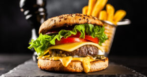 Cheesy Hamburger with Vegetables and Fries