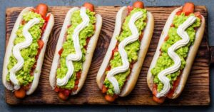 Chilean Hotdogs with Avocados and Tomatoes