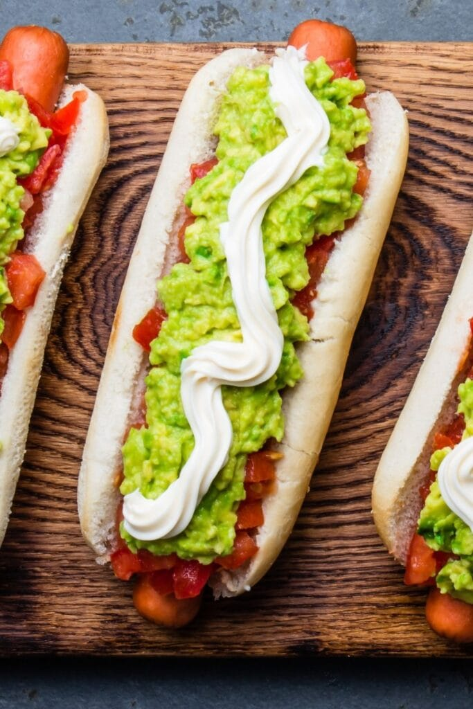 Chilean Hotdogs with Tomato, Avocado and Mayonnaise