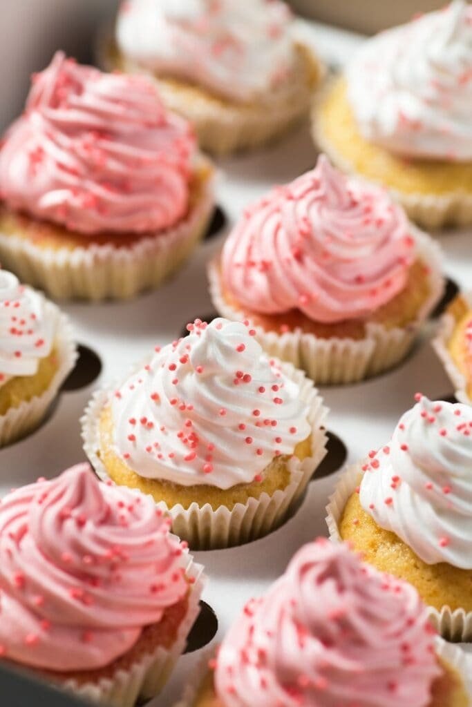 Colorful Vanilla Cupcakes with Sprinkles