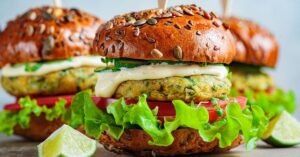 Falafel Chickpea Burger with Vegetables and Sauce
