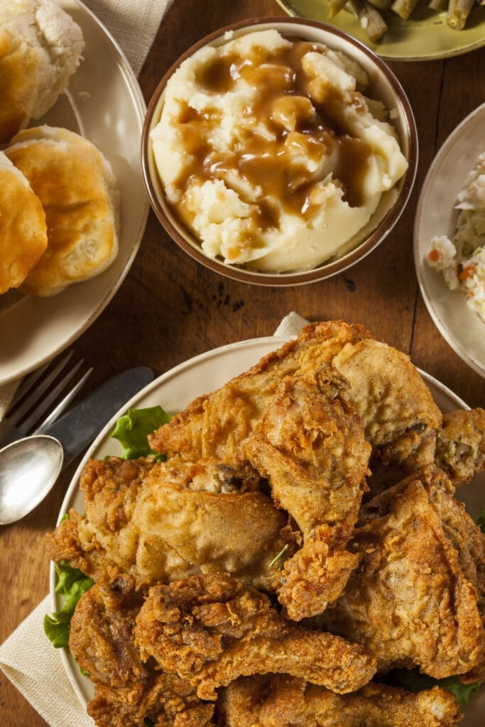 Fried Chicken with Mashed Potatoes and Biscuits